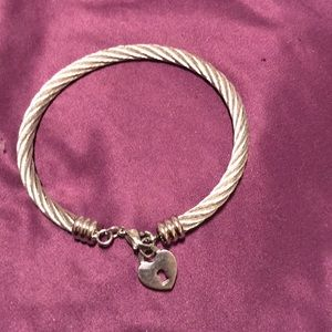 Jewelry - Stainless Steel bracelet with heart dangle charm